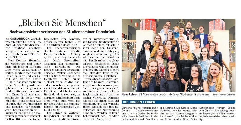 Neue Osnabrücker Zeitung vom 17.11.2017. Autor: Markus Strothmann; Fotograf: Thomas Osterfeld.